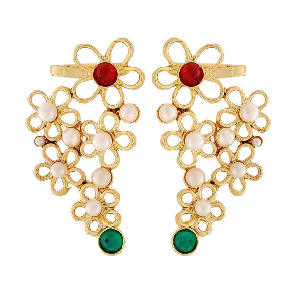 Classy Green Red Pearl Wedding Cuff Earrings - MCHUJE4JY254