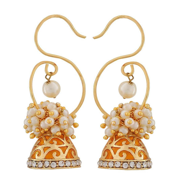 Meenakari Orange White Pearl Reception Dangler Earrings - MCHUJE4JY258