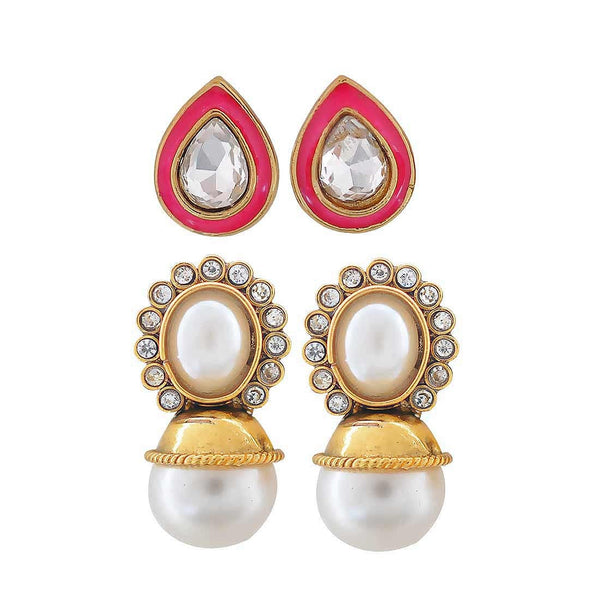 Pair of White Pink Indian Ethnic Ceremony Drop and Stud Earrings - MCHUJE4JY305