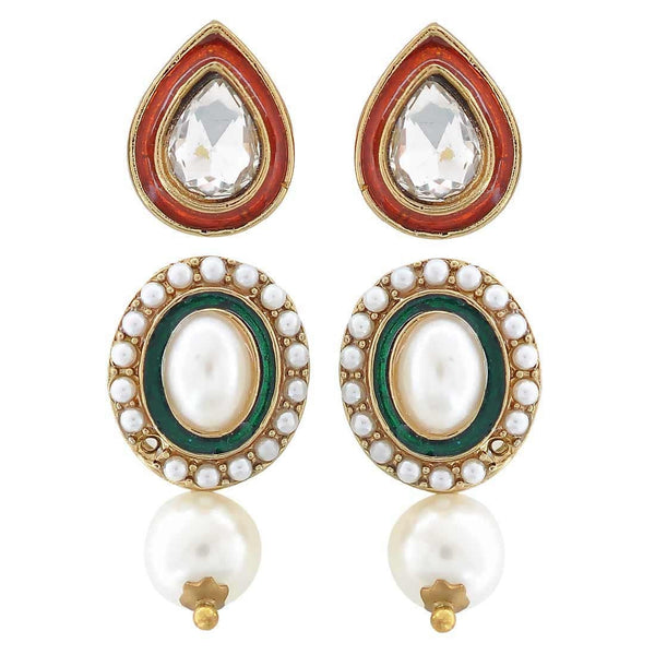 Pair of Multicolour Indian Ethnic Festival Drop and Stud Earrings - MCHUJE4JY309