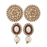 Pair of White Pearl Reception Drop and Stud Earrings - MCHUJE4JY339