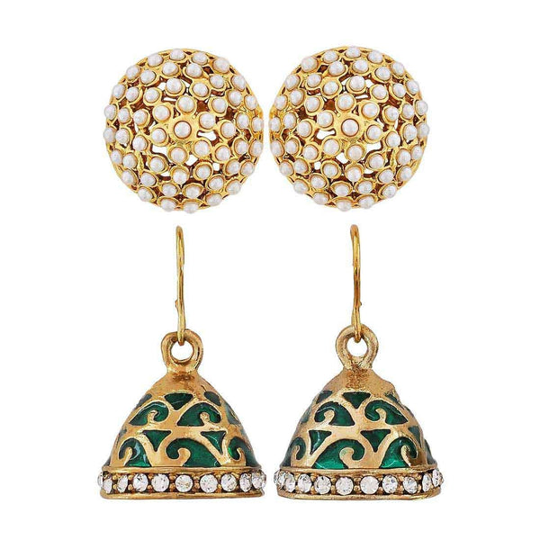 Pair of Green White Indian Ethnic Wedding Jhumki and Stud Earrings - MCHUJE4JY347
