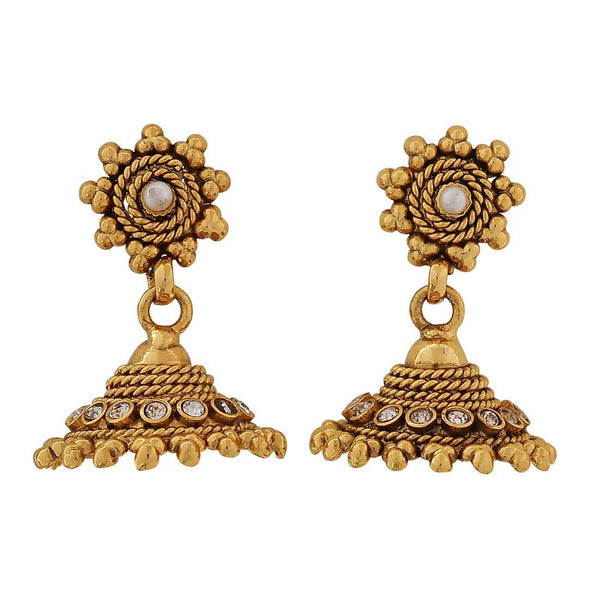 Lovable Gold Indian Ethnic Sangeet Jhumki Earrings - MCHUJE4JY355