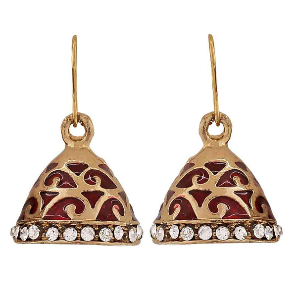 Sexy Red Bronze Meenakari Sangeet Jhumki Earrings - MCHUJE4JY361