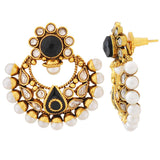 Pretty Black White Kundan Festival Chand Bali Earrings - MCHUJE4JY372