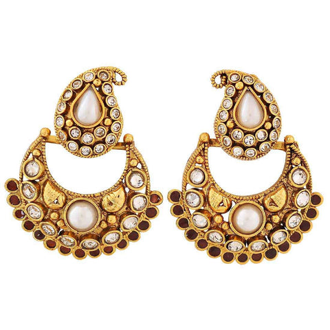 Artistic White Brown Kundan Party Chand Bali Earrings - MCHUJE4JY382