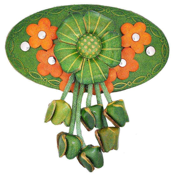 Lively Green Orange Designer Sangeet Hair Clip - MCHUJH4JY485