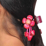 Artistic Pink Orange Designer Reunion Hair Clutcher - MCHUJH4JY488