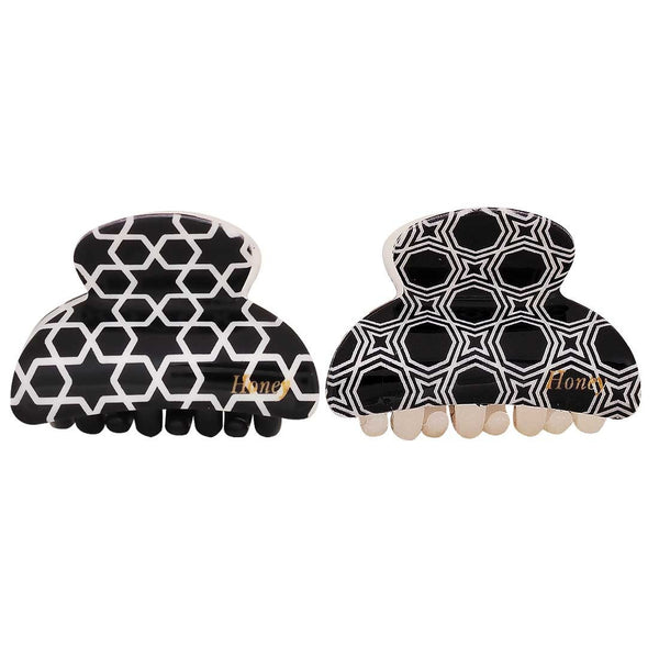 Pair of Black White Designer Cocktail Hair Clutchers - MCHUJH4JY867