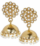 Elegant White Pearl Reception Jhumki Earrings - MCHUJE24DC109