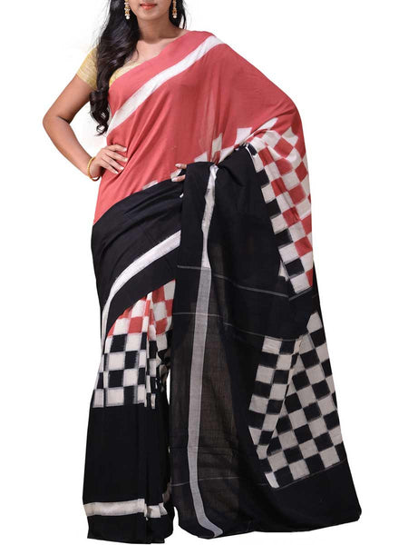 Peach and Black Pochampally Ikat Cotton Handloom Saree with Middle Checks Design -GS-SPASA15JN39