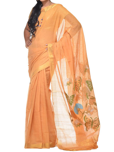 Mustard Khadi Cotton Handloom Saree With Paper Work Pallu Design  - GS-SPASA6MH12