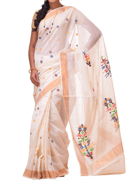 White Khadi Cotton Handloom Saree With Paper Work Pallu Design - GS-SPASA1FB22