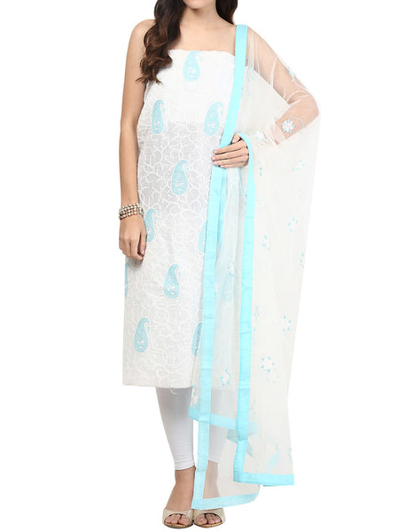 Sea Green & White Cotton Voil Suit From Lucknow - SL-PLSU7JY3