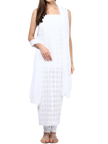 Pure White Cotton Voil Suit From Lucknow - SL-PLSU7JY59