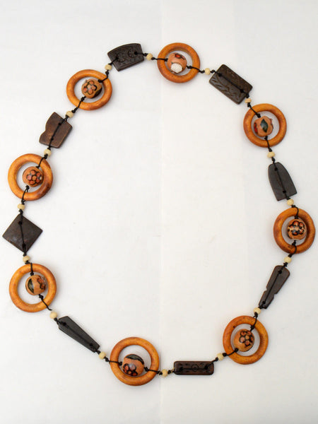 Moradabad Necklace With Wooden Beads In Multicolor - CHUJN13AG11
