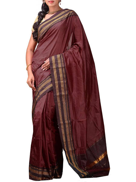 Brown Narayanpet Silk Handloom Plain Saree -GS-SPASA15JN56