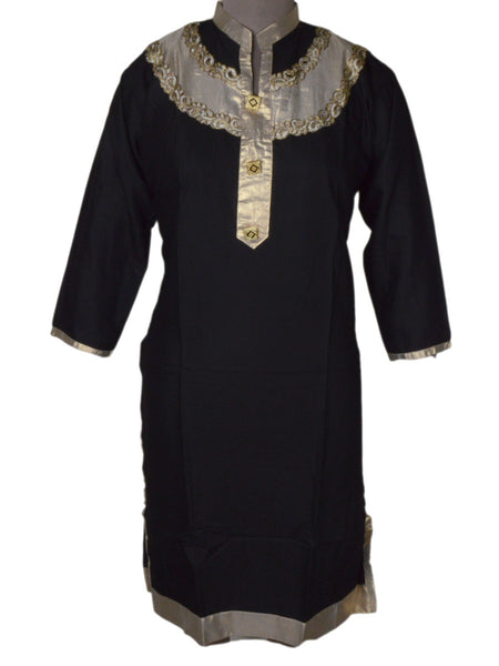 Beautiful Embroidery Kurti From Rajasthan In Black - PJRKLD2NR6