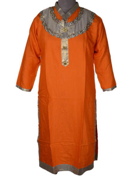 Beautiful Embroidery Kurti From Rajasthan In Orange - PJRKLD2NR8