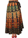 Block Print Jaipuri Wrap Around Skirt In Green - PJRSL5FBY77
