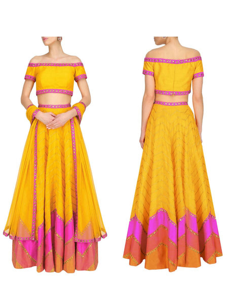 Raw Silk Lehengas From Surat In Yellow - AE-PL26SP22