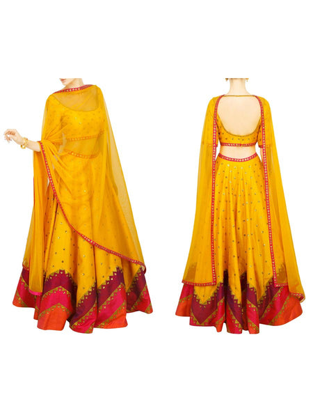 Raw Silk Lehengas From Surat In Yellow - AE-PL26SP30