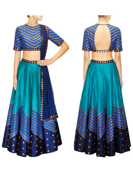 Raw Silk Lehengas From Surat In Blue - AE-PL26SP33