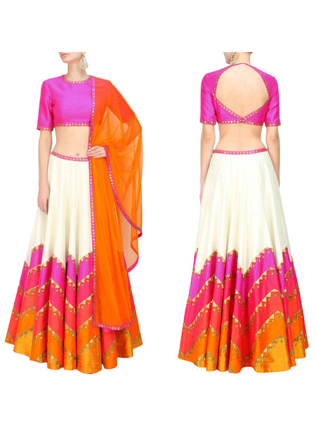 Raw Silk Lehengas From Surat In Multicolour - AE-PL26SP11