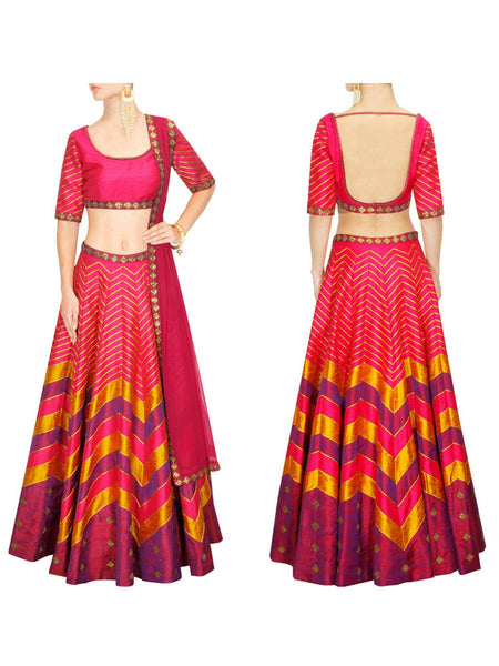 Raw Silk Lehengas From Surat In pink - AE-PL26SP13