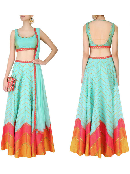 Raw Silk Lehengas From Surat In Sky Blue - AE-PL26SP14