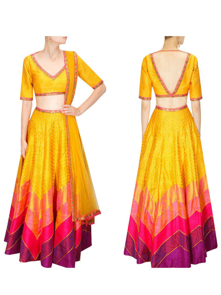 Raw Silk Lehengas From Surat In Yellow - AE-PL26SP15