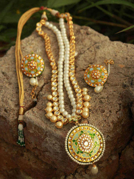 Kundan Meena Necklace From Jaipur In Multicolour - LV-CJN17SP17