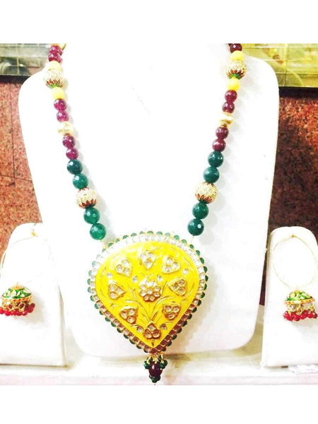 Kundan Meena Necklace From Jaipur In Multicolour - LV-CJN17SP21