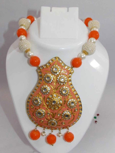 Kundan Meena Necklace From Jaipur In Multicolour - LV-CJN17SP33