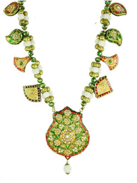 Kundan Meena Necklace From Jaipur In Multicolour - LV-CJN17SP39