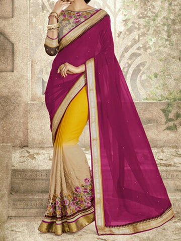 Bridal Chiffon Saree From Surat In Yellow & Deep Pink - ST-PSSA29SP11