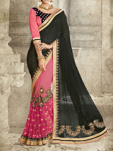 Fancy Net And Georgette Saree From Surat In Black & Pink - ST-PSSA29SP3