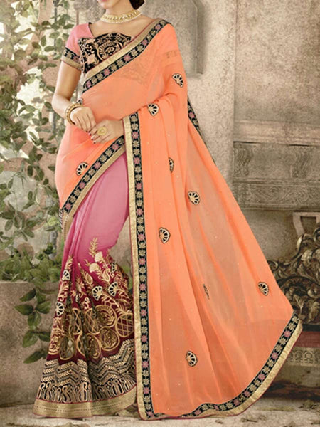 Georgette Saree From Surat In Pink & Orange - ST-PSSA29SP7
