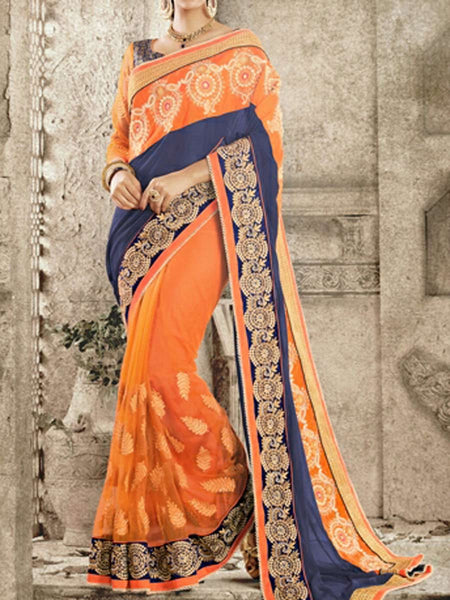 Georgette And Net Saree From Surat In Blue & Orange - ST-PSSA29SP8