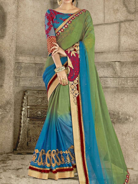 Georgette Saree From Surat In Multicolour - ST-PSSA29SP12
