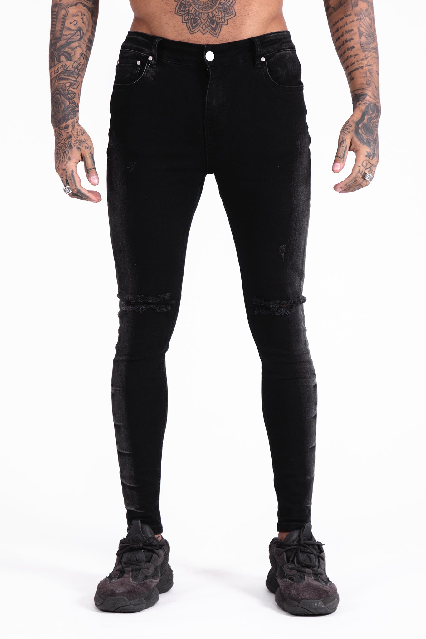 Black Faded Jeans - Illusion Attire