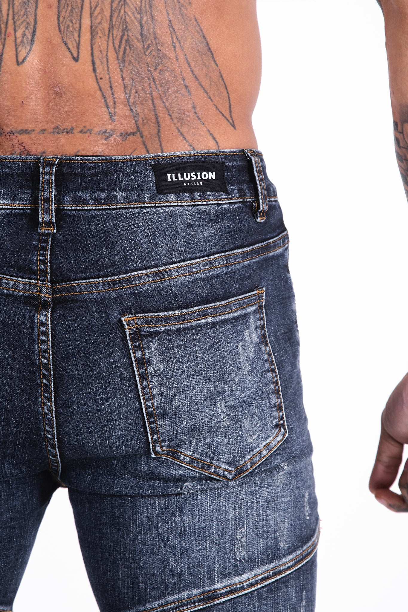 Ribbed Biker Jeans - Illusion Attire