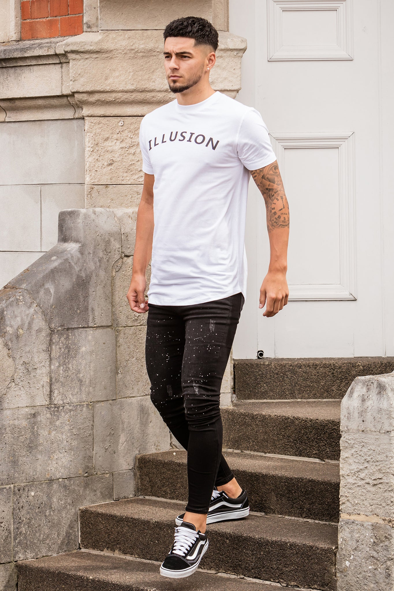 Super Skinny Black Paint Splatter Jeans - Illusion Attire