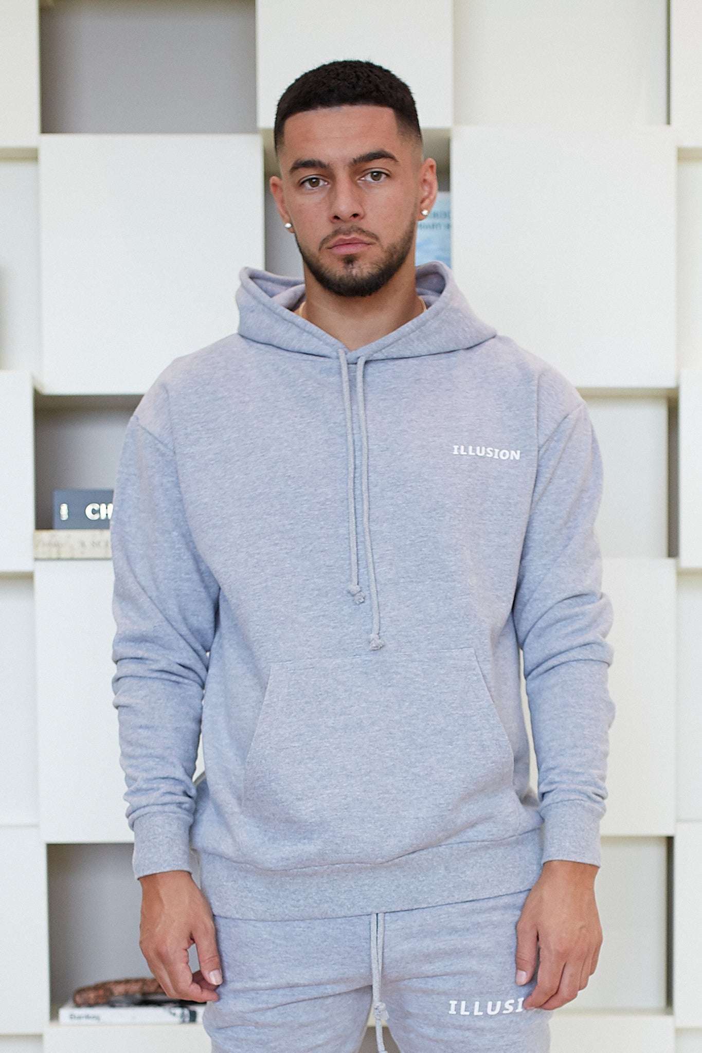 GREY ESSENTIALS HOODIE - Illusion Attire