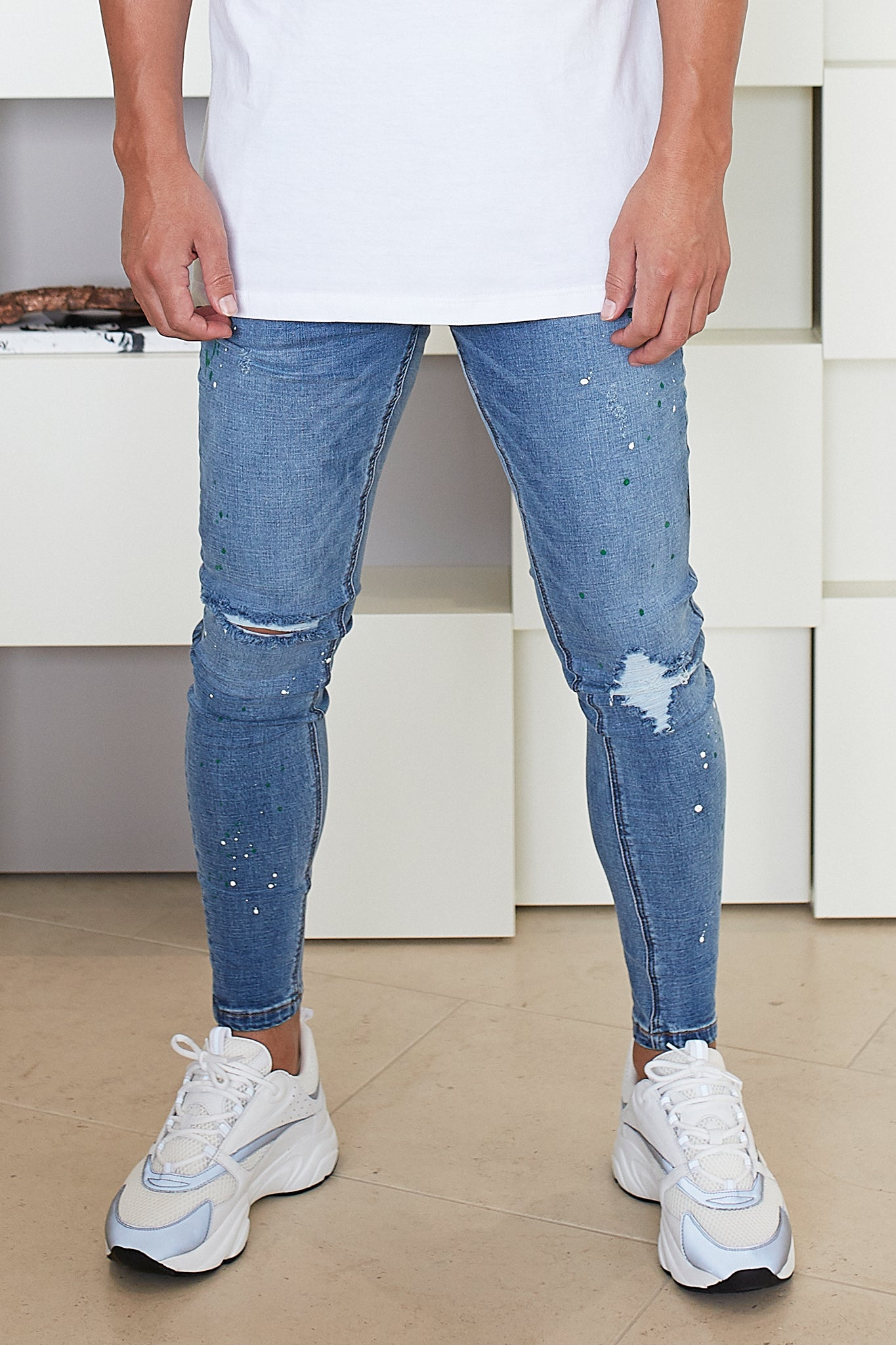 Blue Paint Ripped Jeans - Illusion Attire