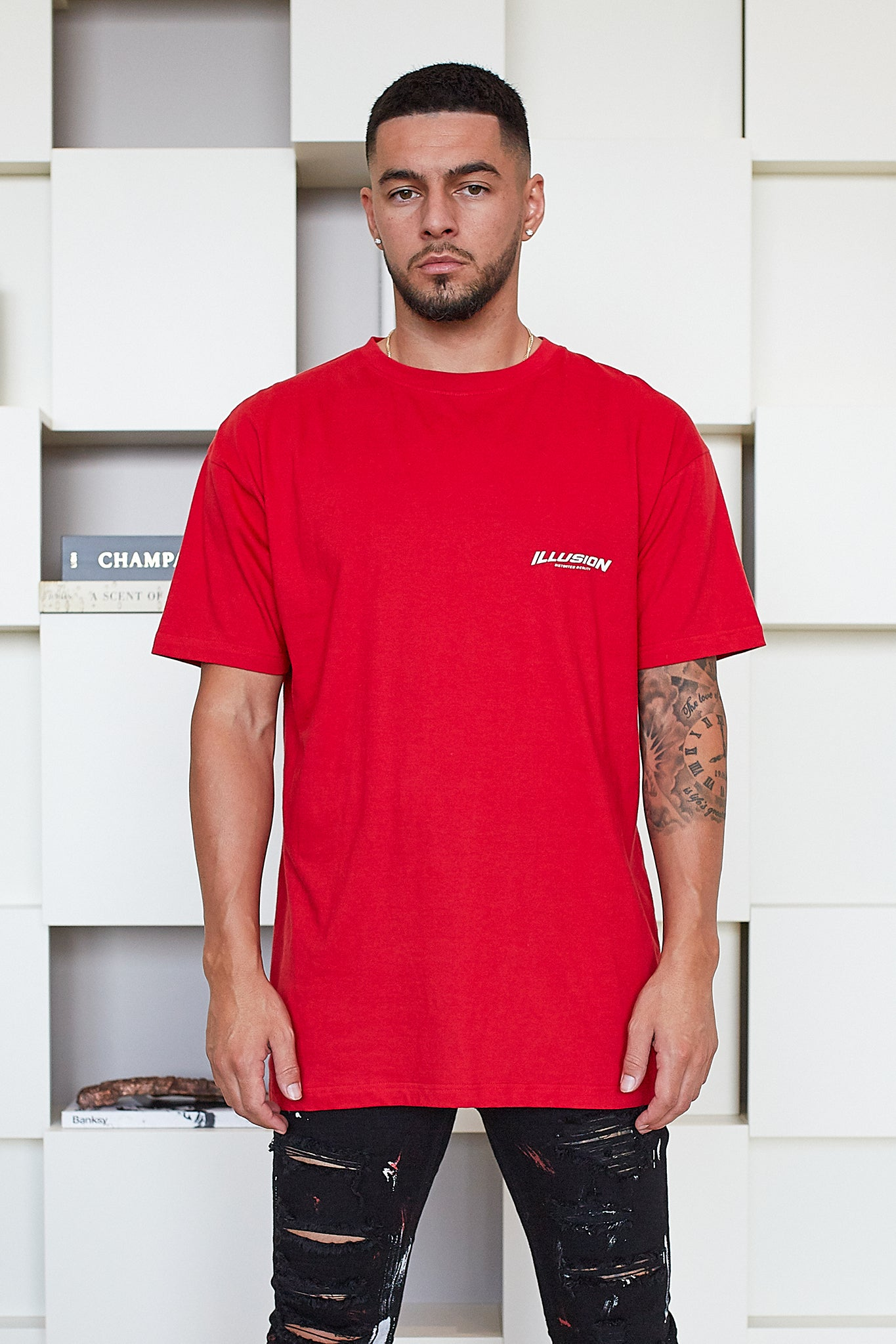RED DISTORTED REALITY T-SHIRT - Illusion Attire