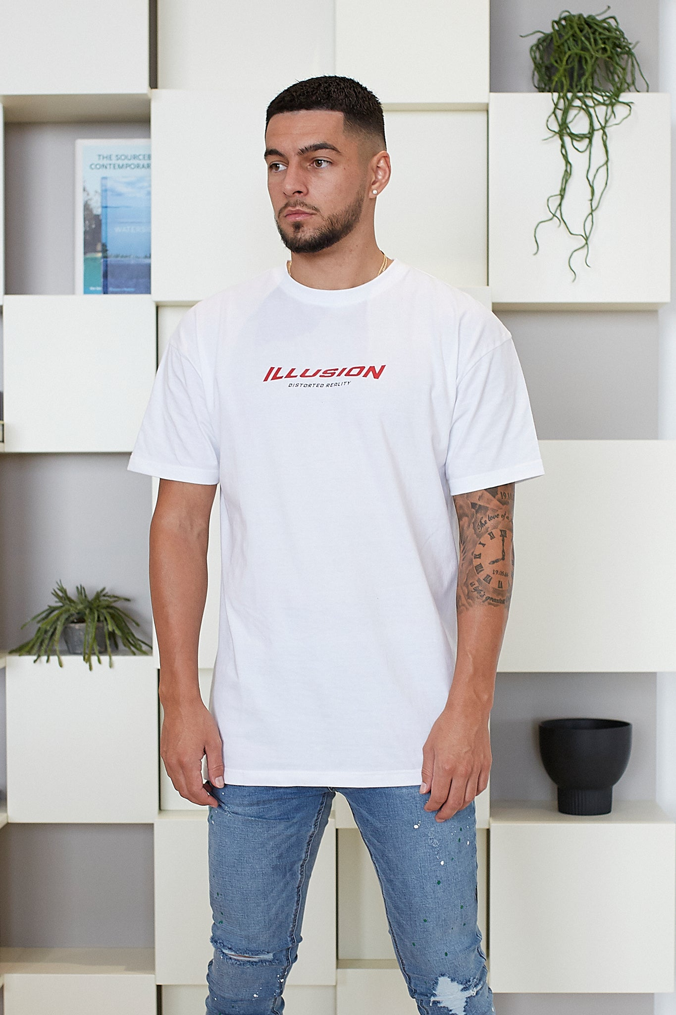 WHITE DISTORTED REALITY T-SHIRT - Illusion Attire