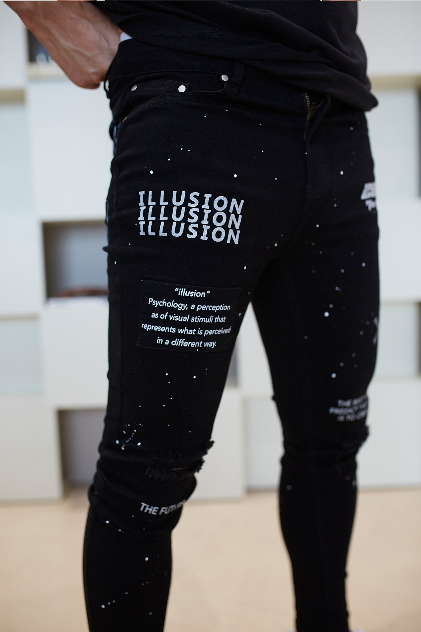 """THE FUTURE"" Paint Ripped Jeans - Illusion Attire"