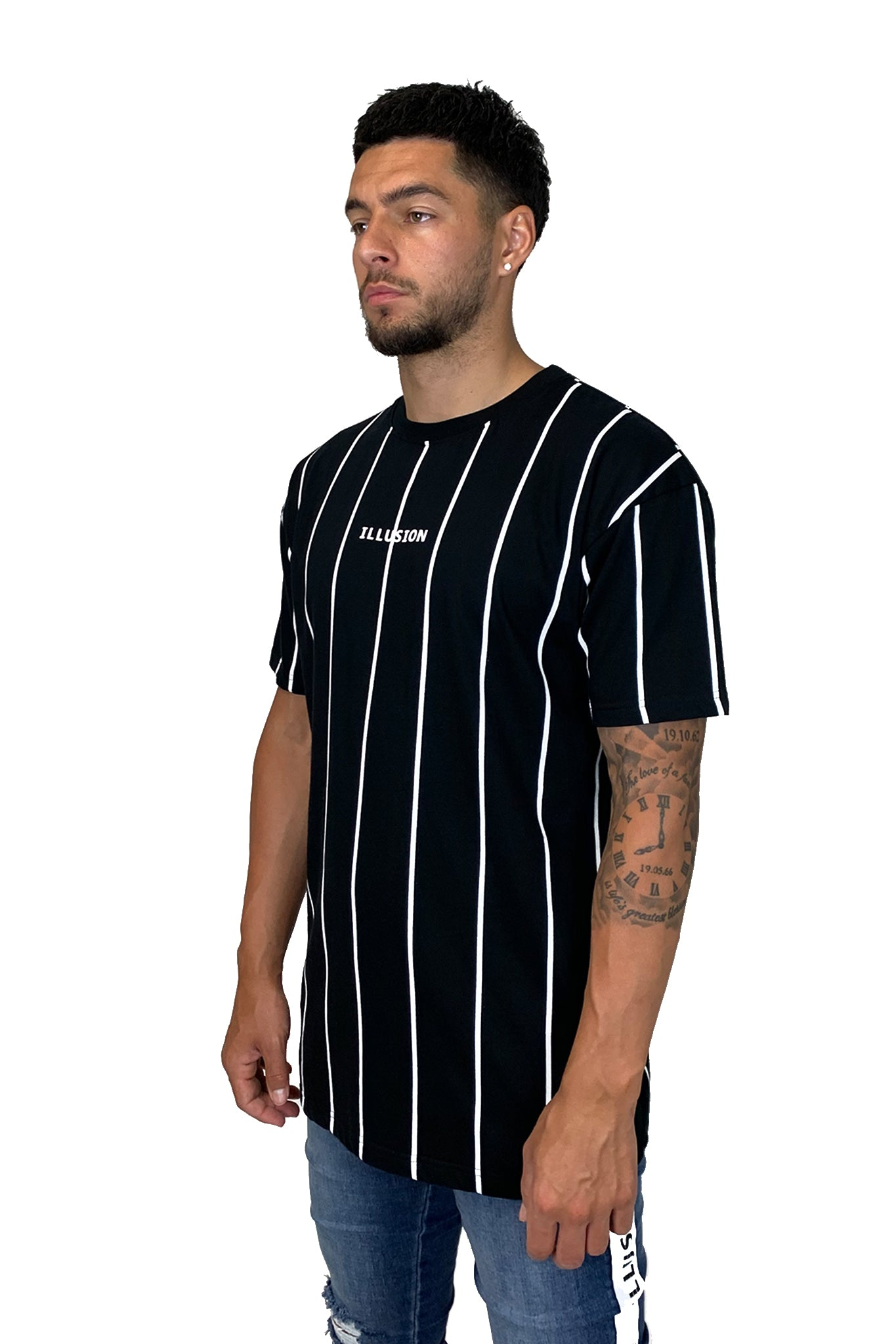 BLACK PINSTRIPE TEE - Illusion Attire