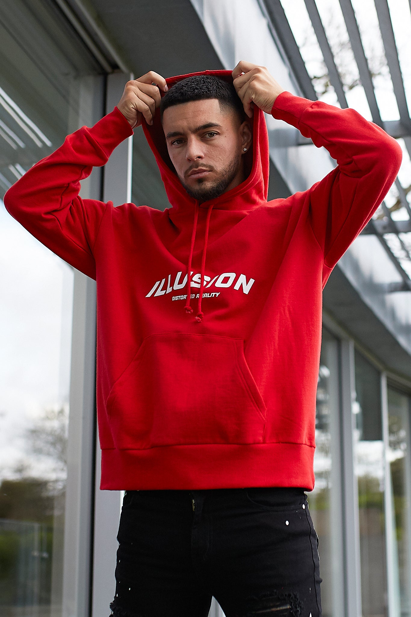 RED OVERSIZED DISTORTED REALITY HOODIE - Illusion Attire